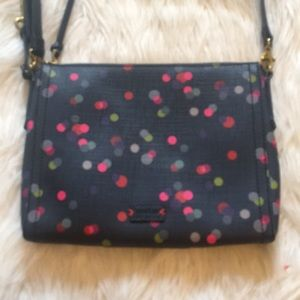 Fossil Navy Blue Polka Dot Crossbody NWOT